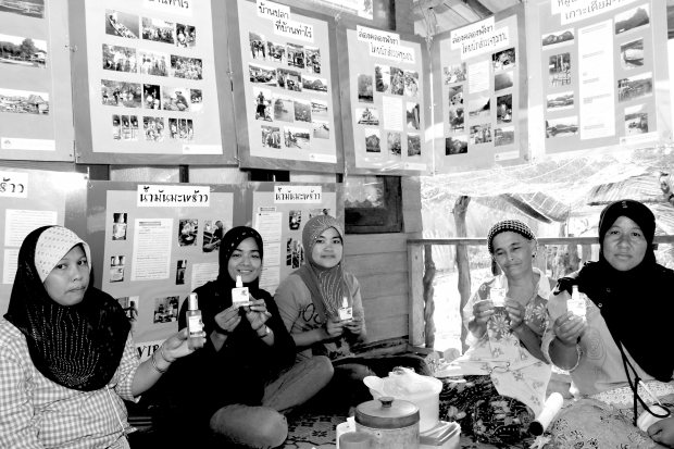 Representatives of womens group in each participating village proudly presented their product made from natural resources of their protection Sets of photos on the wall depictPoW 8