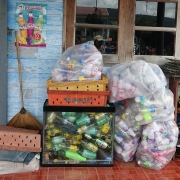 Household recyclable waste, sorted and ready for collection