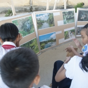 Students attending an exhibition on water pollution