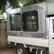 Refrigerated truck used for selling Aloe vera beverage