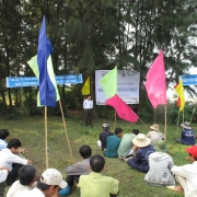Prof. Mai Sy Tuan training local people on mangrove planting techniques