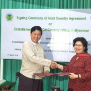 Dr Nyi Nyi Kyaw, Director General of the Forest Department and Ms Aban Marker Kabraji, Regional Director of IUCN Asia