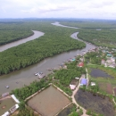 Aerial shot of shrimp ponds in the mangroves