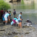 Wildlife club members at Independent school receiving training and planting mangrove seedlings in the wetland site