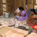 Women Self Help groups processing shells for sale