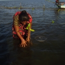 Jenitha planting mangrove saplings at high tide.