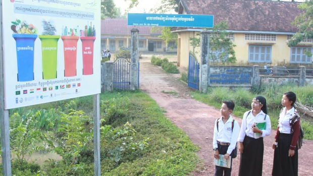 Signboard with primary school students Tuol Torteung commune RUPP2017
