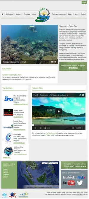 Green Fins new website screenshot showing Top 5 dive centres applying Green Fins approach