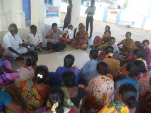 Women participating in sustainable livelihood related discussions